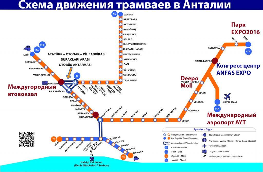 схема движения городских трамваев в Анталии