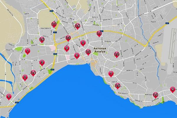 Карта восточных базаров Анталии